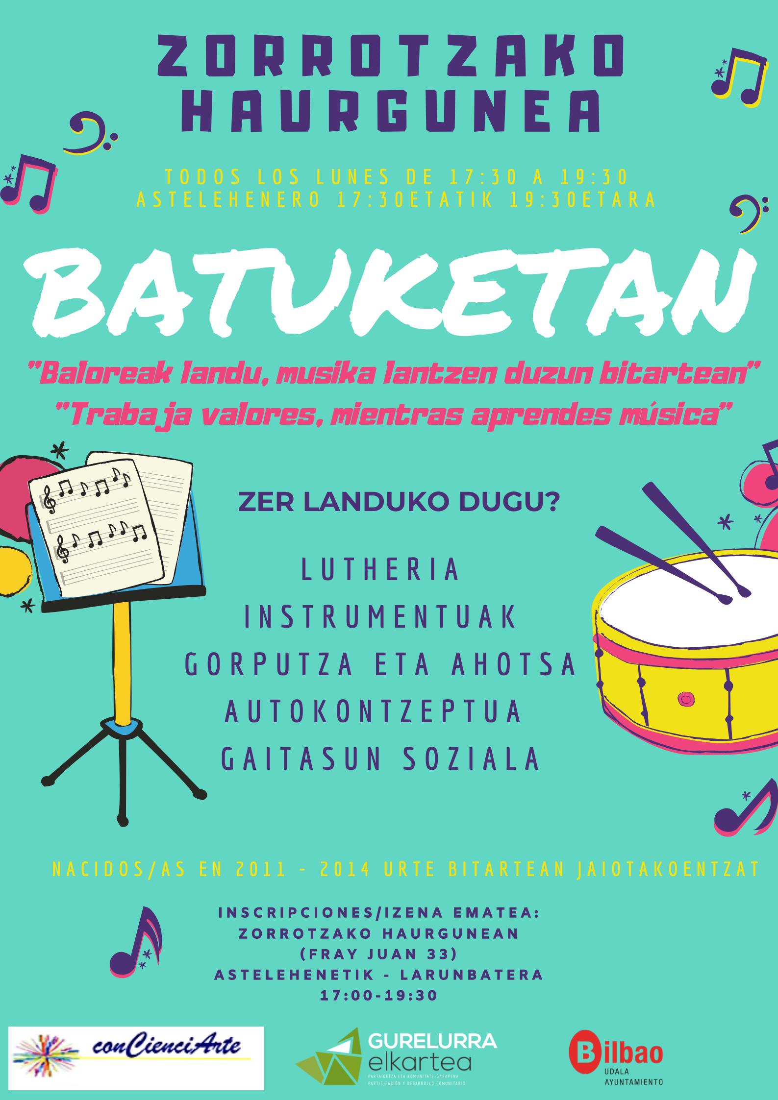 """""""Batuketan"""" Musikaren bitartez haurren garapen pertsonala eta soziala garatzeko proposamen berria."""