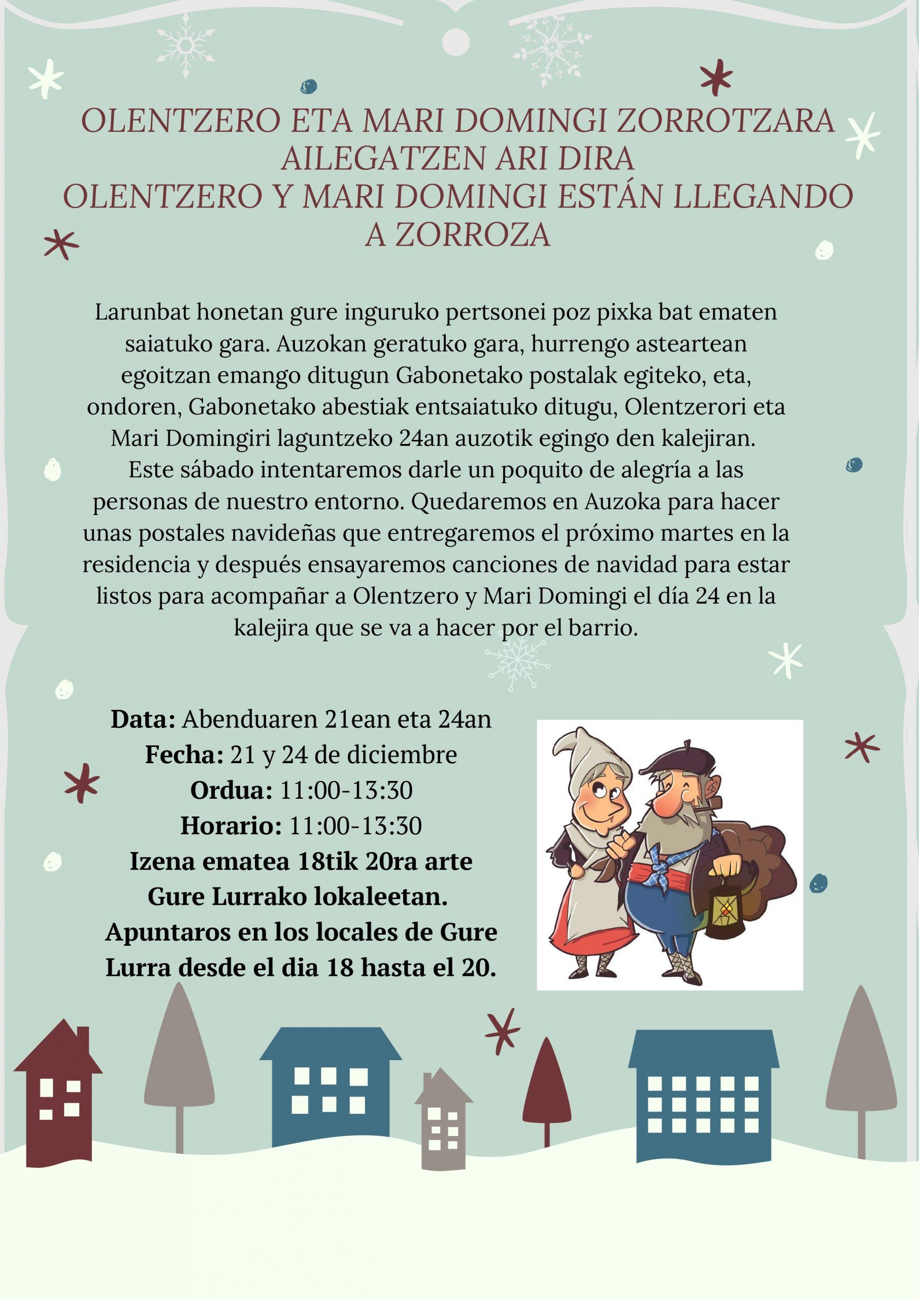 ¡Olentzero y Mari Domingi camino a Zorroza!